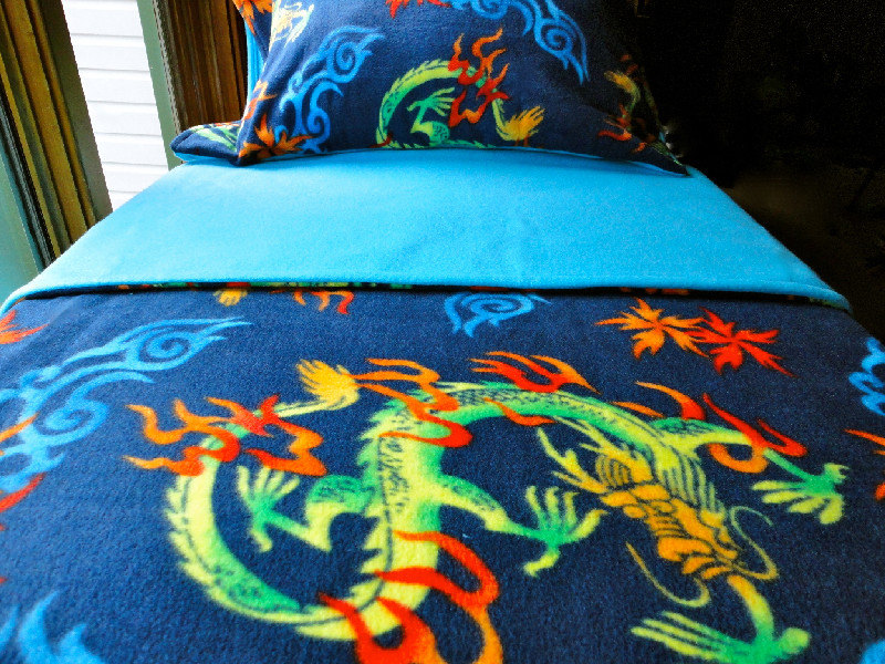Toddler Fleece Blanket Set 'Chinese Dragons' for Boys & Girls - Fits Crib and Toddler Beds