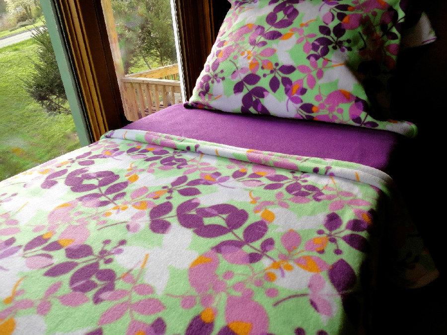 Girls Toddler Fleece Bedding Set 'Spring Butterflies' Handmade Fits Crib and Toddler Beds