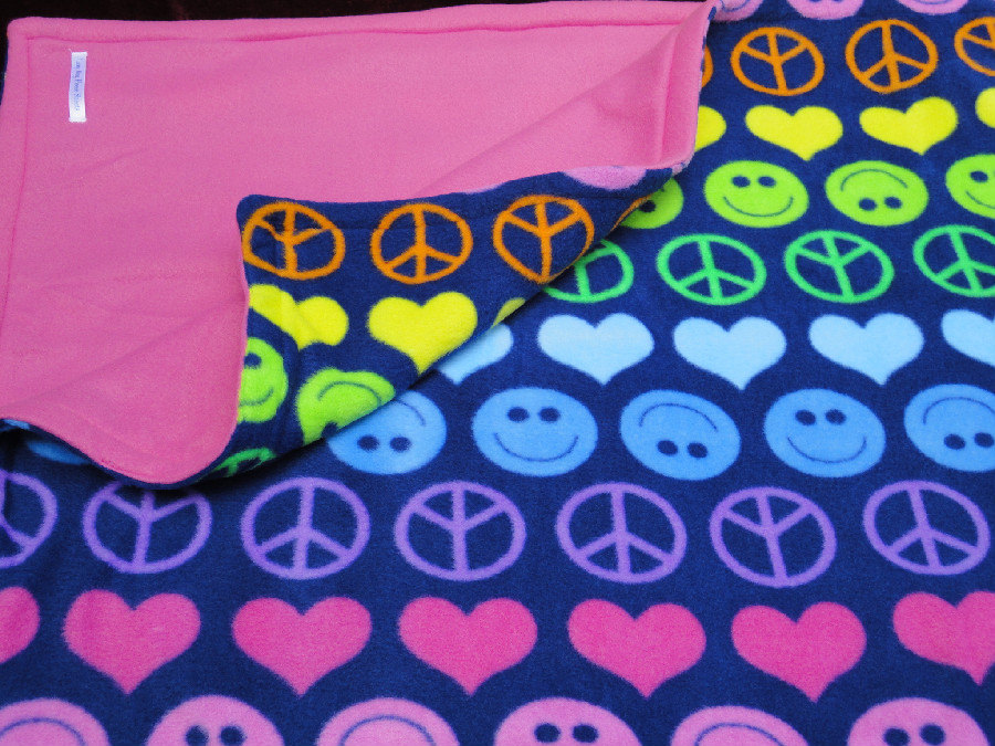 Toddler / Baby Blanket Fleece 'Peace, Love and Happiness' Reversible 46x60 inches