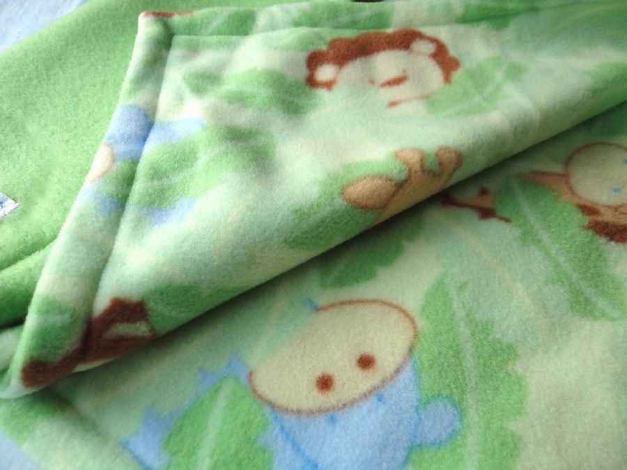 Fleece Toddler / Baby Blanket 'Monkey Business' BUG HUG for Boys & Girls