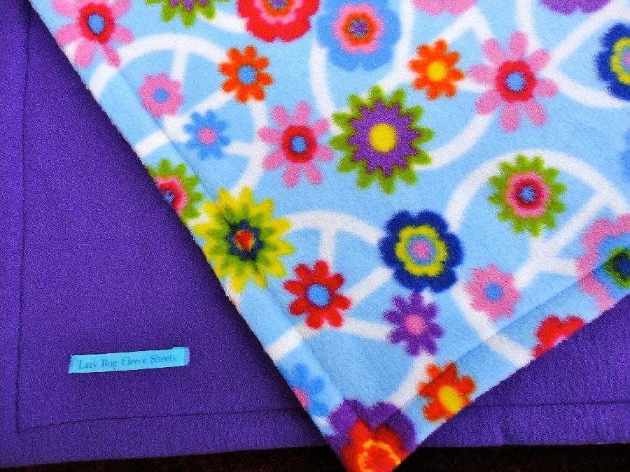 Toddler / Baby Blanket 'Purple Peace' Fleece BUG HUG for Girls