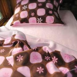 Girls Twin Fleece Bed Set : Pink & Brown Fleece 'Chocolate Silk' (Ready to Make)