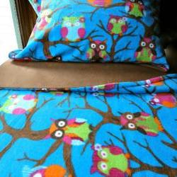 Toddler Fleece Blanket Set 'Owls at Midnight' for Boys and Girls - Fits Crib & Toddler Beds