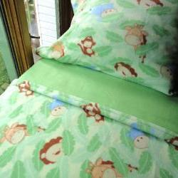 Crib / Toddler Fleece Bedding Set 'Monkey Business' for Boys & Girls Fits Crib and Toddler Beds