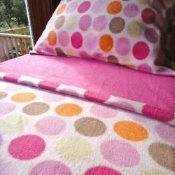 Pink Fleece Bed Set : Toddler / Crib Size Handmade Bedding 'Ice Creamy Dreams for Girls