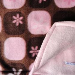 Pink / Brown Baby Blanket Girls Fleece Toddler Handmade 'Chocolate Silk'