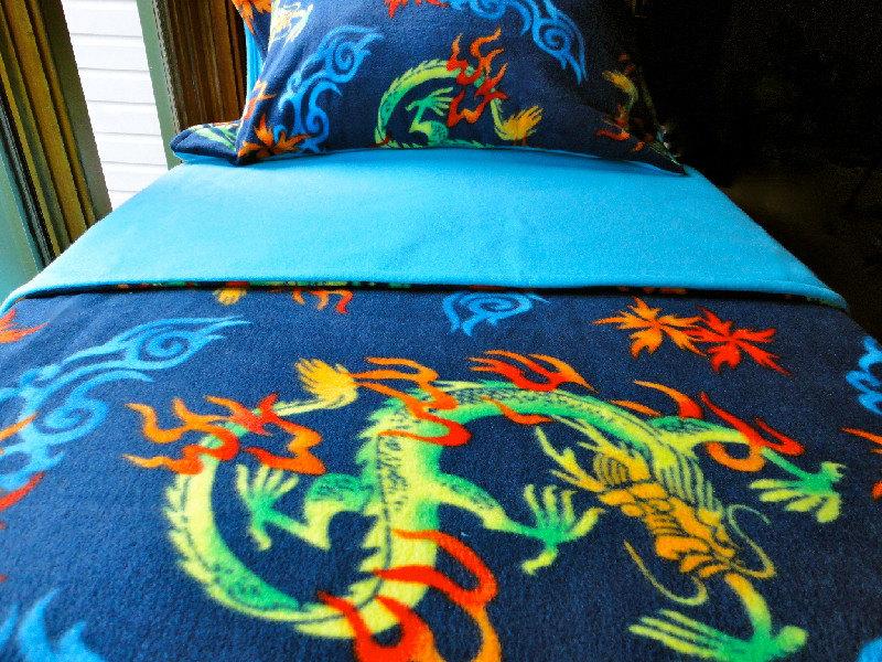 Toddler Fleece Blanket Set Chinese Dragons For Boys